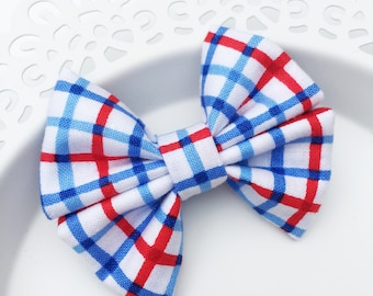 Mini Double Bow, Fabric Bow, Patriotic Plaid Bow