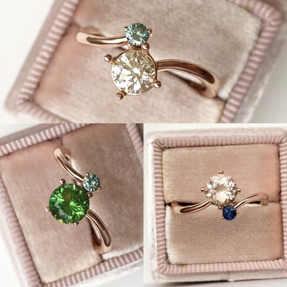 Side by Side Two Stone Ring Wedding or Stackable Select your Stone