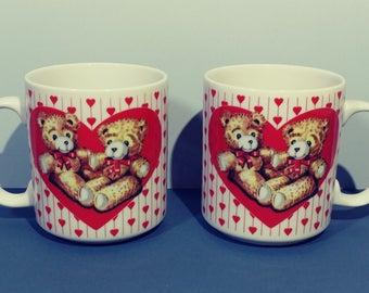 Pair Vintage Mugs 10 oz Red Heart White Ceramic Teddy Bear Design Set 1990s Coffee Tea Office Cup Breakfast Lunch Dinner Tableware Gift Idea