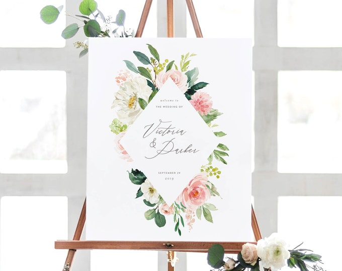 Featured listing image: Editable Template - Instant Download Spring Romance Wedding Welcome Sign in 2 Sizes