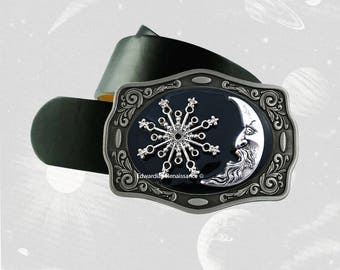 Celestial Belt Buckle Inlaid in Hand Painted Glossy Black Enamel Art Nouveau Inspired Metal Buckle with Assorted Color Options