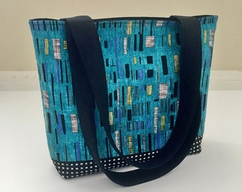 Quilted Tote Bag, Modern Tote Bag, Turquoise Fabric Tote, Carry All Bag, Shoulder Bag