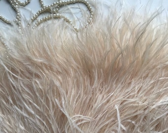 PASTEL OSTRICH Fringe  , Ivory , Light Champagne   / PS  - 12