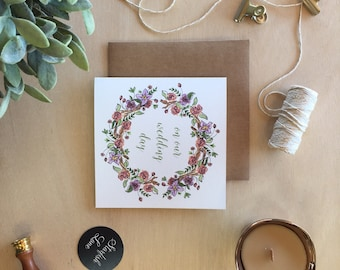 Wedding Day - Spring Wreath Illustration Card with Envelope