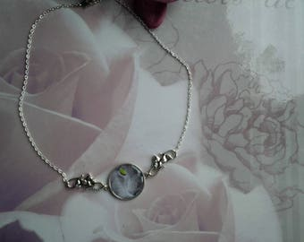 Cat silver cabochon necklace