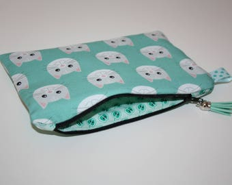 Zippered storage pouch pattern cat on green background
