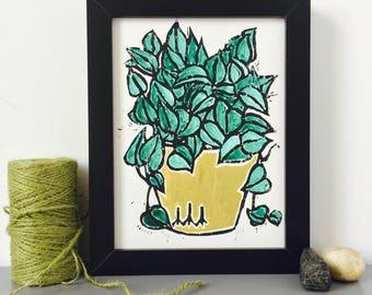 Jade Pothos Linocut
