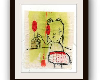 "Original Embroidery Art , Mixed Media Textile Art by Christina Romeo , Modern Wall Art - ""The Past that Defines Us"""