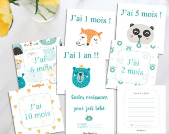 Cartes bleu pour bébé - Cartes de croissance - Noter l'année de bébé - Cartes repères - Pour la 1ère année de bébé - Carte croissance garçon