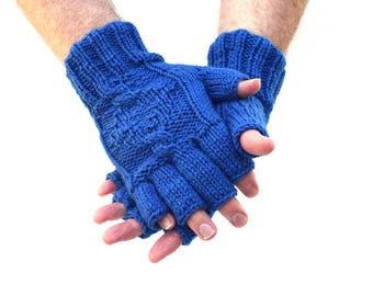 Men's fingerless gloves Royal Blue knit gloves merino wool mittens gift for him mens accessories Valentines Day husband boyfriend gift