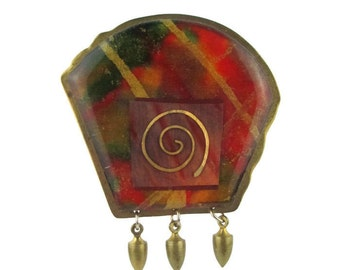 Vintage KNR Modernist  Abstract Laminated Brass Pin Brooch