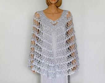 White Silver Shawl Crocet Shawl   Wedding Shawl Wedding Wrap Shawl Crochet Shawl Wraps Shawls Bridesmaids Shawl  Wraparound Shawl