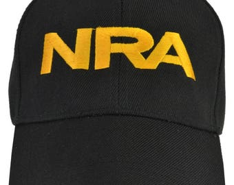 NRA Black Hat Yellow Embroidered  Free Shipping