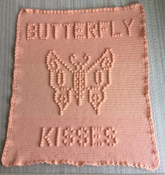 Butterfly Kisses Baby Blanket Pattern - Baby Blanket Pattern - Bobble Blanket Pattern - Popcorn Blanket