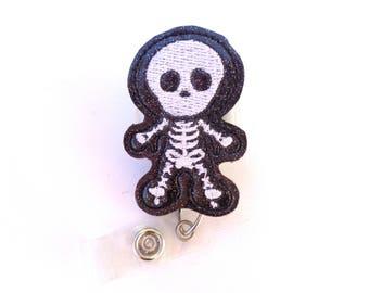 Radiology badge reel id holder - You See Right Through Me - black glitter vinyl badge reel - Skeleton radiologist radiology tech