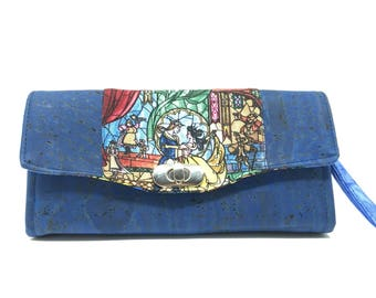 Beauty and the Beast Cork Wallet Vegan Leather Accordion Style Wristlet  Clutch Phone Wallet