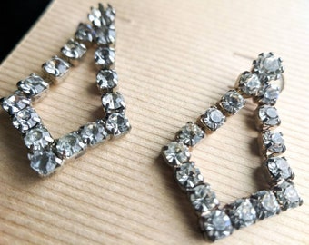 Vintage Rhinestone Earrings Chandelier Style Jewelry Gifts For Her Retro Glam 1960s Hollywood Regency Gemstones
