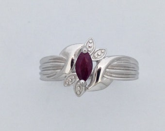 Marquise Cut Natural Ruby Ring 925 Sterling Silver. July Birthstone