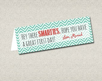 First Day of School Goodie Bag Tag printable DIY | Hey there SMARTIES! | Back to School Treats for kids |