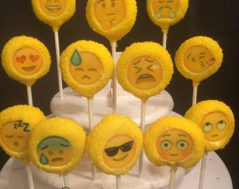 12 EMOJI cake pops, happy, sad, mad, how are you feeling today LOL