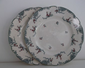 2 very beautiful old plates Vincennes Longwy - shabby chic