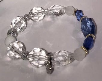 Blue White & Clear Boho Stretch Bracelet