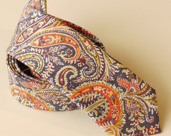 Liberty paisley tie hand-stitched from Felix and Isabelle - men's tie - blue tie - Liberty print tie - skinny tie