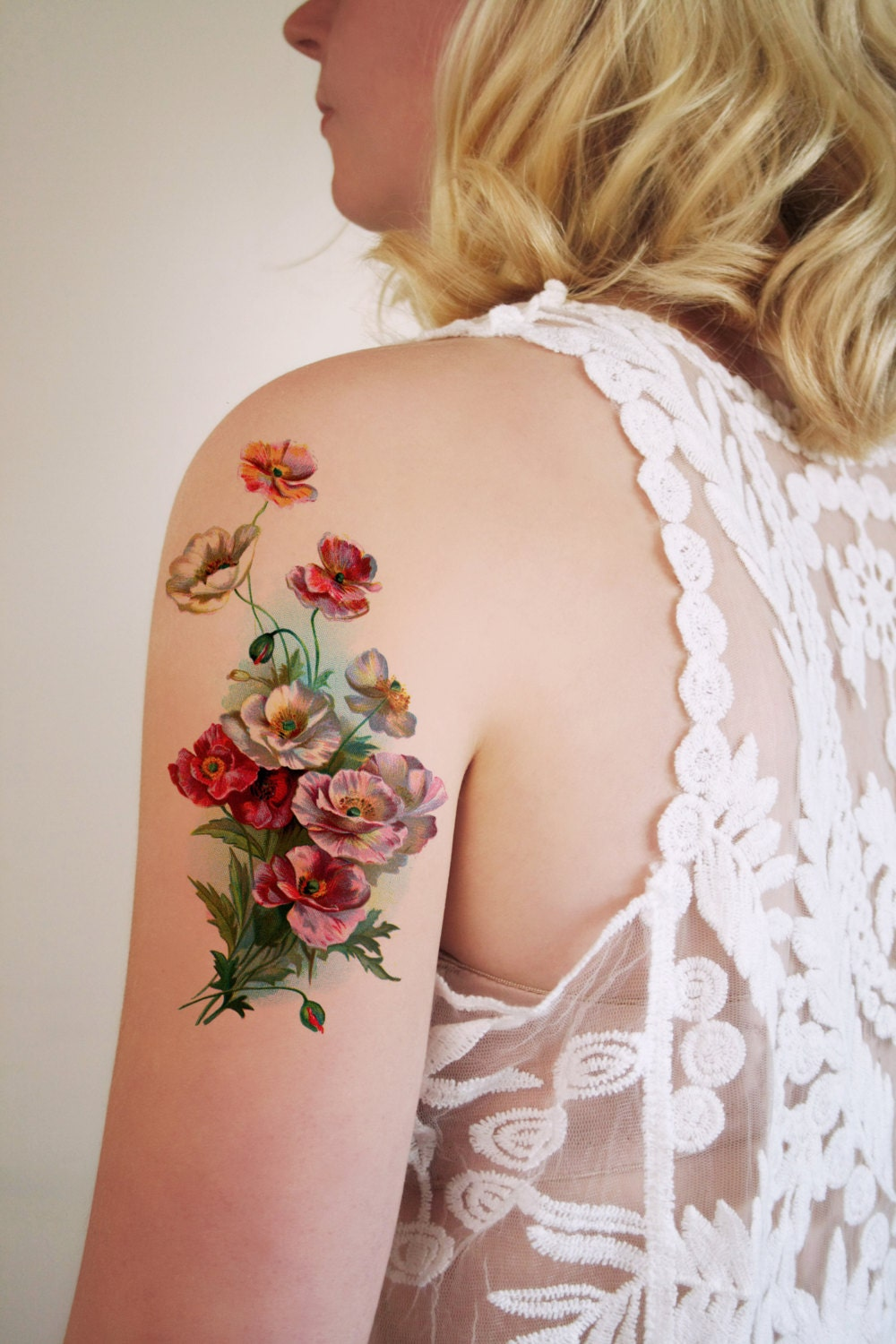Large Vintage Floral Temporary Tattoo Flower Temporary