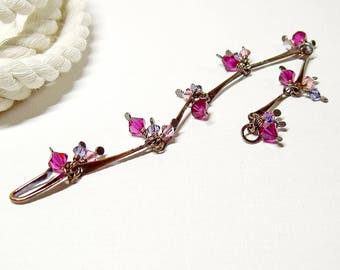 Dangle Bracelet with Purple Crystals in Oxidised Copper, Dainty Sparkly Bracelet