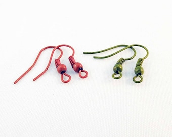 MC71 - 2 pairs of hooks (Orange and green) backing for pierced ears