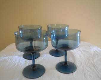 Crystal Blue Crystal Lenox  Sherbert Ice cream Wine Glasses Champagne Glasses