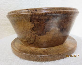 Spalted Pecan Bowl with Attached Saucer