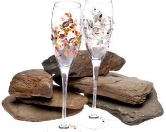 Crystal Fall Wedding Champagne Flutes - Hand Painted and Embellished with Swarovski Crystals - Choose Your Own Colors for Your Giftsl
