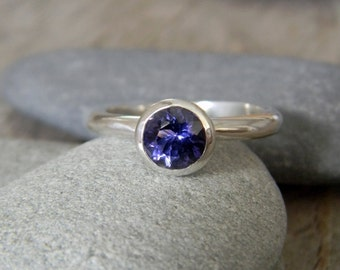 Iolite, Water Sapphire Solitaire Ring, Nesting Ring or Stackable Ring in 925 Silver, Gemstone Stacking Rings