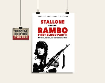 Rambo Poster Print, Movie poster, Alternative poster, Digital poster, Instant download, Wall art print, Wall art, Digital print, Art print