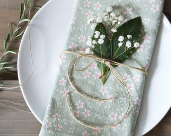 Sage Green Ditsy Floral Linen Union Napkins - Set of 2