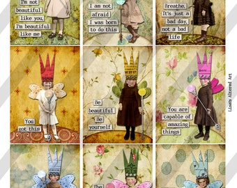 Digital Collage Sheet 2.5 X 3.5 ATC Sized Images Encouragement Fairies-3 Sheets, 27 Images(Sheet no. FS293) Instant Download