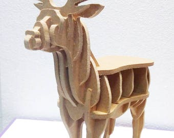 Wooden 3D deer puzzle, 31 pieces deer puzzle for kids, living room/kids room wooden puzzle decor, DIY project, mdf puzzle, montessori type