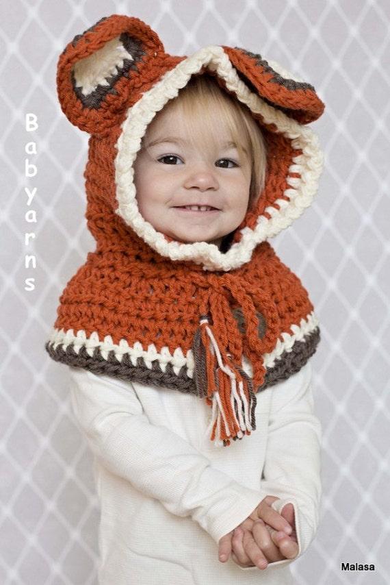 Childrens FOX Hat Crochet Knit HOODIE Cape Scarf Animal Baby