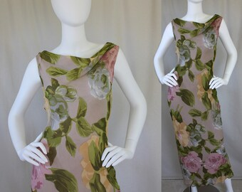 90s Slinky Maxi Dress Floral Grunge Botanical Garden / Sleeveless / Cowl neck / Lightweight / Purple Taupe Lavender Lilac / Flowers | Small