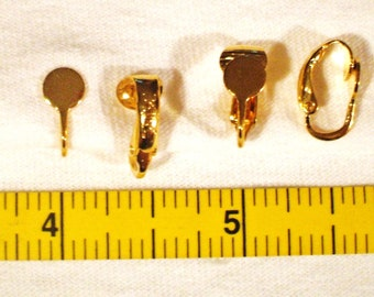 200 pair gold tone hinged clip earring 6MM blank pad