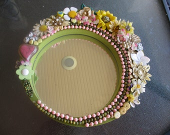 "Colorful Round Wall Mirror One of a Kind Jeweled 9 1/2"", Jewelry Embellished Mirror"