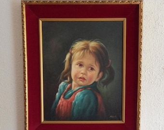 Sale Vintage Oil on Canvas Portrait Painting (Little Girl Crying) Fine Art/Home Decor/Art Galleries