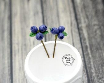 Blueberry hair pin, hair accessories, wedding hair pin, blueberry pin, U pin, bridal hair accessories, bridesmaid hair pin, Made in Alaska