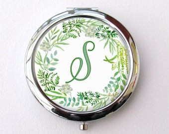 Bridesmaid Compact Mirror, Personalized Bridesmaid Gift, Woodland Wedding