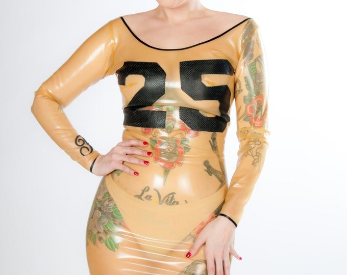 Latex Long-Sleeved Minidress with Varsity Number