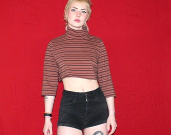 Womens 90s Striped Long Sleeve Crop Top Shirt. Womens Turtle Neck Belly Shirt. 90s Cropped Long Sleeve. Womens Small Crop Belly 90s Shirt.