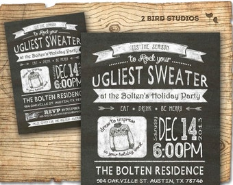 Ugly sweater invitation -Christmas chalkboard style printable invitation- holiday party invitation