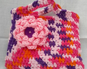 Pink Crochet Purse with Large Pink flower and Purple button center, Medium size Clutch bag, Pouch for Accessories & Cosmetics