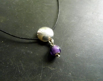 Chain, cotton ribbon, sterling silver, amethyst, lilac, silver, jewelry